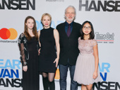 Theater couple Charlotte d'Amboise and Terrence Mann attend Dear Evan Hansen's Broadway opening with their daughters Shelby and Josephine.