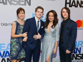 Dear Evan Hansen's amazing ensemble members Garrett Long, Colton Ryan, Olivia Puckett and Michael Lee Brown celebrate their Great White Way opening.