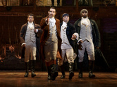 Jordan Fisher as John Laurens, Javier Muñoz as Alexander Hamilton, Seth Stewart as Marquis de Lafayette, Okieriete Onaodowan as Hercules Mulligan, Mandy Gonzalez as Angelica Schuyler, Brandon Victor Dixon as Aaron Burr and Lexi Lawson as Eliza Hamilton in Hamilton.