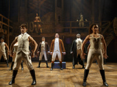 Javier Muñoz as Alexander Hamilton and the cast of Hamilton.