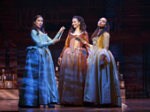 Lexi Lawson as Eliza Schuyler, Mandy Gonzalez as Angelica Schuyler and Jasmine Cephas Jones as Peggy Schuyler in Hamilton.
