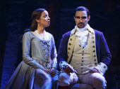 Lexi Lawson as Eliza Hamilton and Javier Muñoz as Alexander Hamilton in Hamilton.