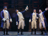 Okieriete Onaodowan as Hercules Mulligan, Seth Stewart as Marquis de Lafayette, Jordon Fisher as John Laurens and Javier Muñoz as Alexander Hamilton in Hamilton.