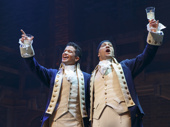 Jordan Fisher as John Laurens and Seth Stewart as Marquis de Lafayette in Hamilton.