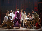 Daveed Diggs as Jefferson and the cast of Hamilton.