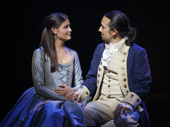 Phillipa Soo as Eliza and Lin-Manuel Miranda as Hamilton in Hamilton.