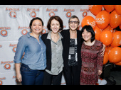 Avenue Q's Broadway assistant director Jen Bender, set designer Anna Louizos, producer Robyn Goodman and original cast member Ann Harada take a photo.