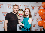 Avenue Q co-creator Jeff Marz and star Elizabeth Ann Berg are all smiles for 13 years and 3,000 performances.