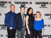 Group shot! Groundhog Day's John Sanders, Andy Karl, Barrett Doss and Rebecca Faulkenberry unite.