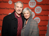 Theater couple John Dossett and Michele Pawk arrive at the off-Broadway opening of Man from Nebraska. Dossett will star in War Paint on Broadway this spring.