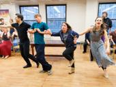 "Tony Yazbeck, Jack McBrayer, Rachel Dratch and Laura Osnes perform ""Stiff Upper Lip."""