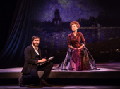Jake Gyllenhaal as George and Penny Fuller as Old Lady in Sunday in the Park with George.