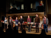The cast of If I Forget, including Tasha Lawrence, Larry Bryggman, Maria Dizzia, Jeremy Shamos, Kate Walsh, Gary Wilmes and Seth Steinberg, takes their opening night curtain call.