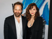 Maggie Gyllenhaal and her husband Peter Sarsgaard step out to support her brother Jake Gyllenhaal's opening night in Sunday in the Park with George.