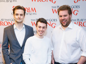The Play That Goes Wrong's creators and stars Henry Shields, Jonathan Sayer and Henry Lewis are all smiles for their Broadway bow.