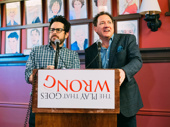 Ready or not! The Play That Goes Wrong producers J.J. Abrams and Kevin McCollum step up to the podium.