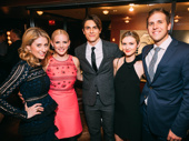 The gang's all here! Frozen-bound star Cassie Levy, Miss Saigon's Katie Rose Clarke, Anastasia's Derek Klena, his girlfriend Elycia Scriven and Clarke's husband Chris Rogers take a group shot.