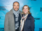 Theater couple Danny Burstein and Rebecca Luker attend Significant Other's Broadway opening.