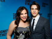 Wicked reunion! Anastasia-bound Derek Klena steps out to support former green girl Lindsay Mendez on her Broadway opening.