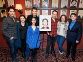 Phantom co-stars rally around James Barbour as he is honored with a Sardi's caricature.