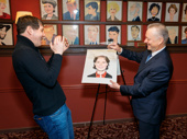 James Barbour reacts to his caricature as Sardi's Max Klimavicius performs the unveiling.