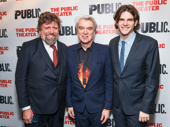 The Public Theater's Artistic Director Oskar Eustis snaps a pic with Joan of Arc: Into the Fire's scribe David Byrne and director Alex Timbers.