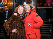 Tony-winning buddies Julie White and Cady Huffman hug it out on the red carpet.