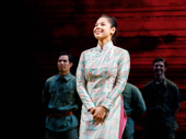 Eva Noblezada takes in the crowd on her opening night in Miss Saigon.