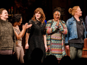 Sweat stars Alison Wright, Michelle Wilson, director Kate Whoriskey, scribe Lynn Nottage, Johanna Day and Khris Davis take in the applause.