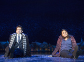 Andy Karl as Phil Connors and Barrett Doss as Rita Hanson in Groundhog Day.