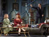 Kristine Nielsen as Monica Reed, Kate Burton as Liz Essendine and Kevin Kline as Garry Essendine in Present Laughter.