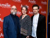 Amélie set and costume designer David Zinn, director Pam MacKinnon and choreographer Sam Pinkleton get together.