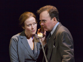 Jennifer Ehle as Mona Juul and Jefferson Mays as Terje Rød-Larsen in Oslo.