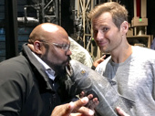 Mwah! James Monroe Iglehart kissed the fish. The Hamilton-bound star and Aladdin Tony winner visited his Memphis pal Chad Kimball  at Come From Away.(Photo: Colgan McNeil)