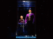 Jake Ryan Flynn as Charlie and Christian Borle as Willy Wonka in Charlie and the Chocolate Factory.