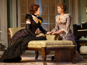 Laura Linney as Regina Giddens and Cynthia Nixon as Birdie Hubbard in The Little Foxes.
