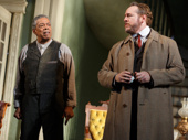 Charles Turner as Cal and Darren Goldstein as Oscar Hubbard in The Little Foxes.