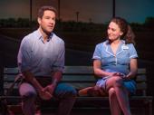 Chris Diamantopoulos as Dr. Pomatter and Sara Bareilles as Jenna in Waitress.