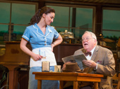 Sara Bareilles as Jenna and Dakin Matthews as Joe in Waitress.