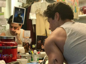The bicep, the tub of protein powder and the photo of Elphaba on the mirror? Must be in Fiyero's dressing room at the Gershwin Theatre! Wicked's Michael Campayno hangs in his dressing room digs.(Photo: Instagram.com/michaelcampayno)