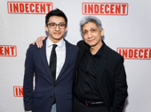 Indecent's scenic designer Riccardo Hernandez and son Lucas take a photo.