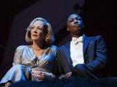 Allison Janney as Ouisa and Corey Hawkins as Paul in Six Degrees of Separation.