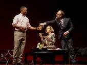 Corey Hawkins as Paul, Allison Janney as Ouisa and John Benjamin Hickey as Flan in Six Degrees of Separation.