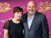 Charlie & the Chocolate Factory's executive producer Caro Newling celebrates with Tony winner Casey Nicholaw.
