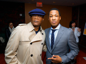 Samuel L. Jackson and Corey Hawkins, who appeared together in Kong: Skull Island, get together at Hawkins' Six Degrees of Separation opening.