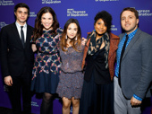 Together again! Significant Other's Gideon Glick, Lindsay Mendez, Sas Goldberg, Rebecca Naomi Jones and scribe Josh Harmon support their director Trip Cullman on his opening night.