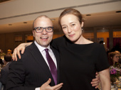 Oslo scribe J.T. Rogers and star Jennifer Ehle hug it out.(Photo: Chasi Annexy)
