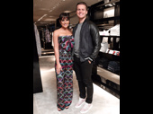 Broadway BFFs looking fashion forward! Lea Michele and Jonathan Groff unite at Armani in New York City for a listening party for her upcoming album Places, which hit earbuds on April 28.(Photo: Twitter.com/LeaMichele)
