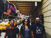 Squad up! Hamilton's Javier Muñoz, Mandy Gonzalez and James Monroe Iglehart roll on up to the Richard Rodgers for a two-show day.(Photo: Instagram.com/mandy.gonzalez)