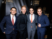 Music makers Benj Pasek, Justin Paul, scribe Steven Levenson and star Ben Platt celebrate Dear Evan Hansen's Lucille Lortel wins (Outstanding Lead Actor and Featured Actress in a Musical).